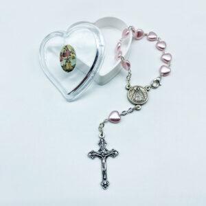 Autorosenkranz – Herzperlen – rosa