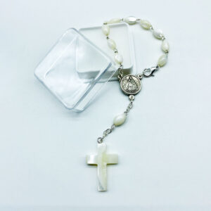 Autorosenkranz – Perlmutt – oval – mit Perlmuttkreuz