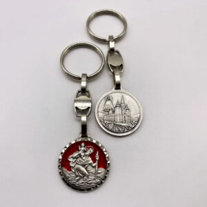 Schlüsselanhänger – Christophorus – geschliffen – rot